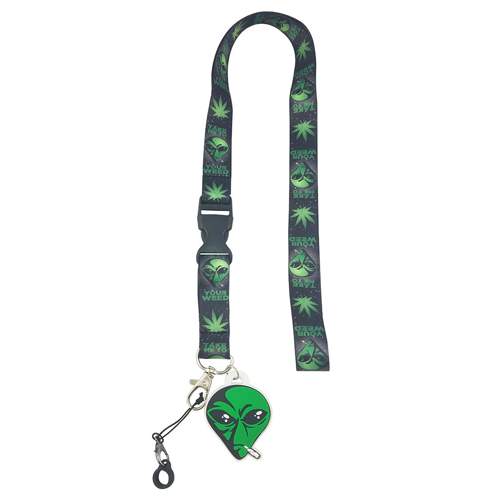 Alien Pot Leaf Lanyard with Clip