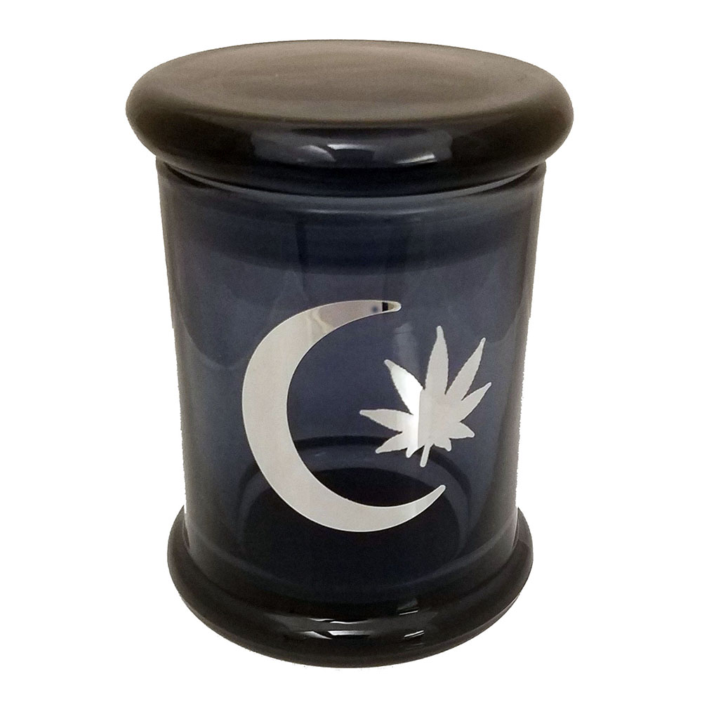 Marijuana Stash Jar Moon and Leaf